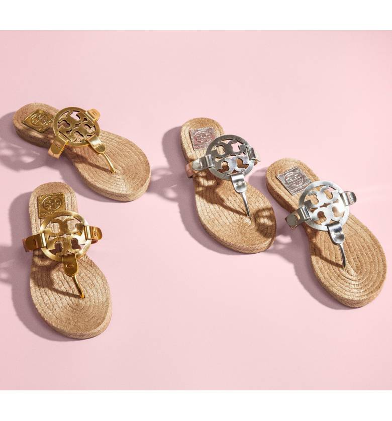 c92cf56d9522 The MILLER ESPADRILLE SANDAL in Gold METALLIC LEATHER from Tory Burch
