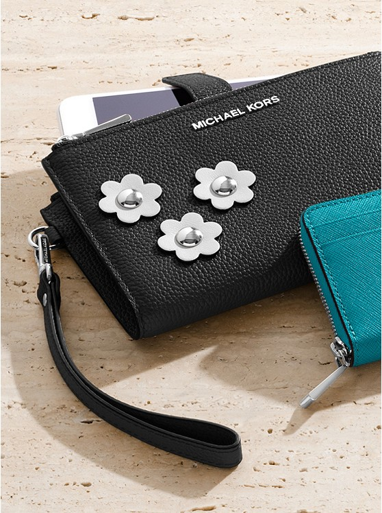 2e072c50221b The Adele Floral Appliqué Leather Smartphone Wristlet from MICHAEL KORS