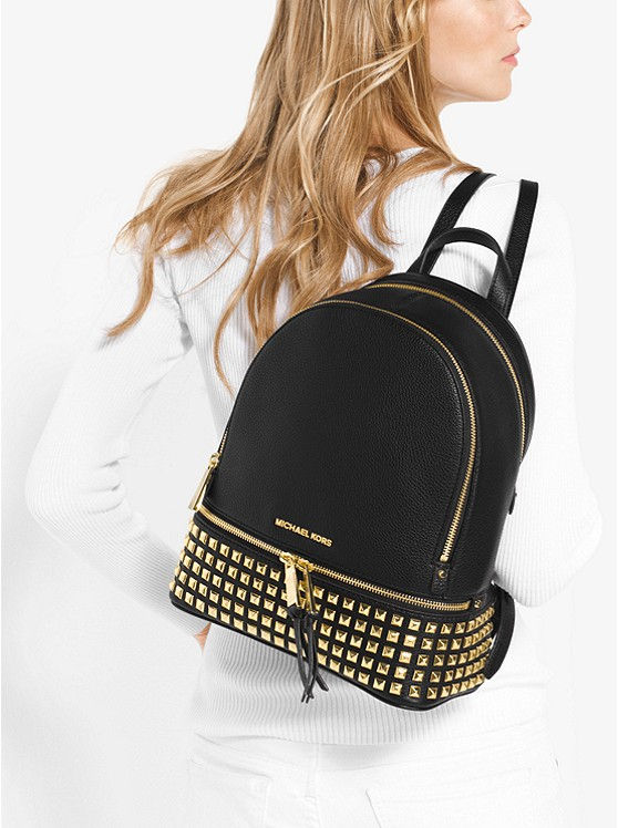 b9458cad1fd34 MICHAEL KORS Rhea Medium Studded Leather Backpack – Today s Fashion Item
