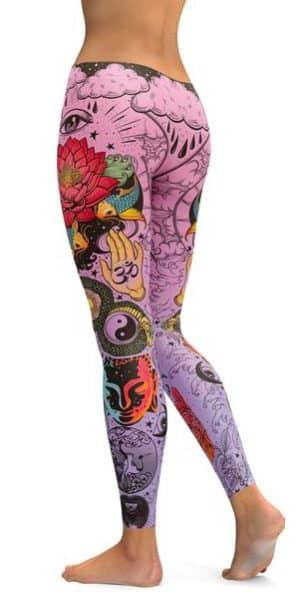 a45042cf306b0 Pink Tattooed Lotus Leggings from GearBunch