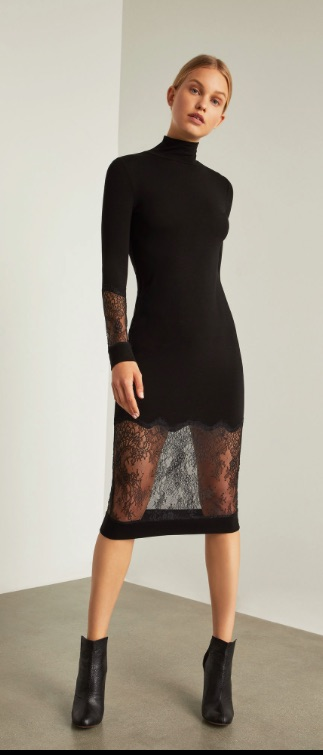 Black Lace Trimmed Sheath Dress From Bcbg