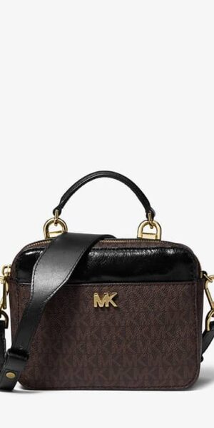 7adb0869de3a MICHAEL KORS Mott Mini Logo and Leather Crossbody