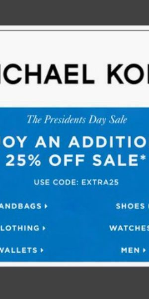 9068a5920c39 Michael Kors 25% off President s Day Sale