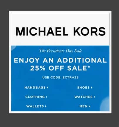 a2886b995663 Michael Kors 25% off President s Day Sale – Today s Fashion Item